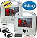 Disney 7''inch Dual Screen Widescreen LCD Mobile DVD Player D7500PDD w/ Remote Control, Car Accessories and 2 Set Headphones. Plays DVDs, Audio CDs, and More