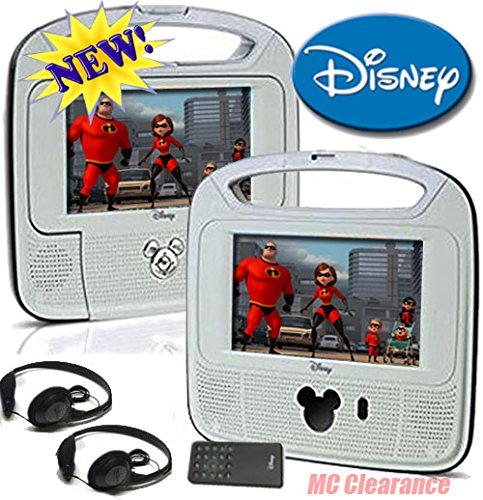 Disney 7''inch Dual Screen Widescreen LCD Mobile DVD Player D7500PDD w/ Remote Control, Car Accessories and 2 Set Headphones. Plays DVDs, Audio CDs, and More by Disney