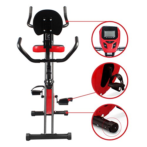 Folding Upright Exercise Stationary Bike with Pulse Rate Sensors, Adjustable 8 Level Magnetic Resistance,Indoor Cycling Fitness Bike for Home Gym,265LBS
