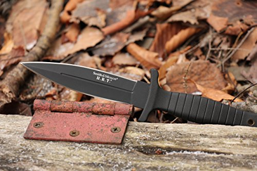 Smith & Wesson SWHRT9B 9in Stainless Steel Fixed Blade Knife with 4.7in Dagger Point Blade and TPE Handle for Outdoor Tactical Survival and Everyday Carry