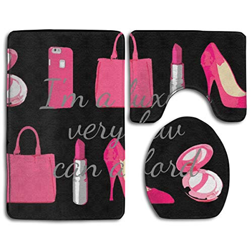 - Beach Surfer Girl Black Pink Girly Things Luxury Lipstick 3 Piece Bathroom Rug Mat Non-Slip Shower Bathroom Mat Contour Mat and Lid Cover Toilet Sets
