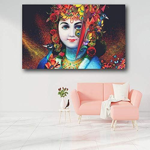 IGZAKERヒンドゥー教の神ラダクリシュナ愛HD壁アートキャンバスポスターとプリントキャンバス絵画装飾画像用リビングルーム家の装飾-50×75センチフレームなし
