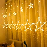 Star Warm White Curtain String Light with 12 Stars 138pcs Fairy Strip Rope Lamp Window Light 8 Modes, 29V LED Waterproof Linkable for Outdoor, Indoor, Christmas, Halloween, Wedding, Party (Warm White)