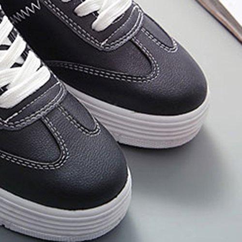 EOZY Damen Plateau Sneakers Sportschuhe Casual Bequeme Schnürer Schuhe Schwarz