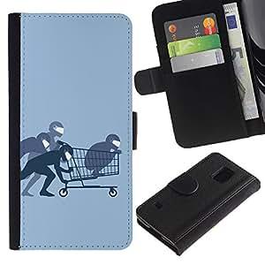Paccase / Billetera de Cuero Caso del tirón Titular de la tarjeta Carcasa Funda para - Funny Ninja Shopping - Samsung Galaxy S5 V SM-G900