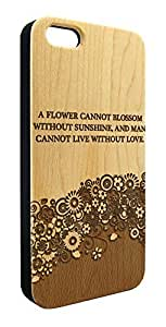 Genuine Maple Wood Organic Cute Flowers Love Quote Snap-On Cover Hard Case for iPhone 5/5S
