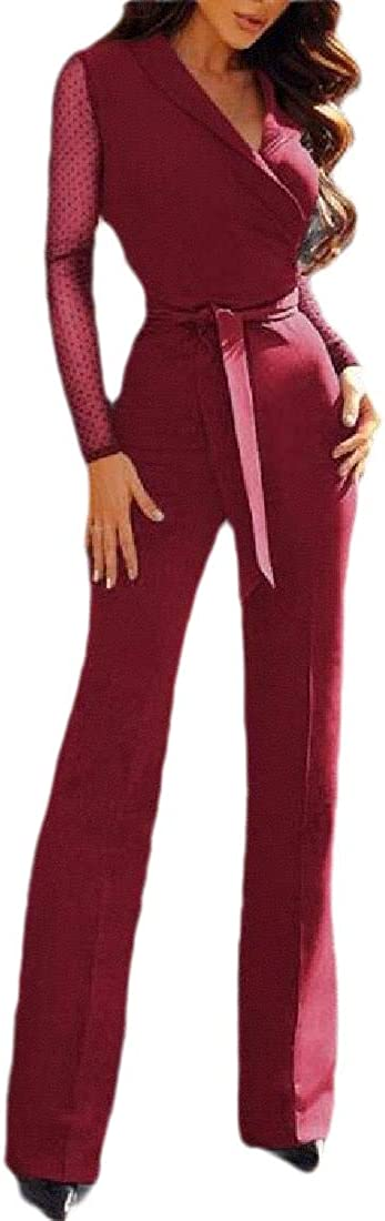 Lutratocro Women Straight-Leg Long Sleeve Playsuit V-Neck Romper Jumpsuit