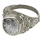 Memorial Gallery 2004Bp-11 Silver Ring with Clear Glass Front Platinum Cremation Pet Jewelry, Size 11