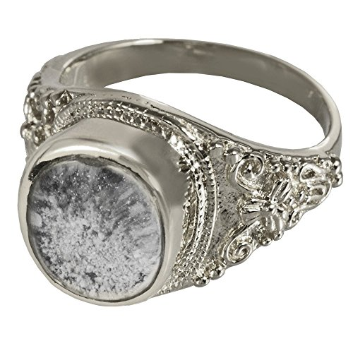 Memorial Gallery 2004Bp-9 Sterling Silver Ring with Clear Glass Front Platinum Cremation Pet Jewelry, Size 9