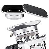 JJC Metal Square Lens Hood w/ABS Hood Cap Protector & 49mm Thread Filter Adapter Ring for Fujifilm X100F X100T X100S X100 X 70 Digital Camera replaces Fuji LH-X100 Lens Hood & AR-X100 Adapter/Silver