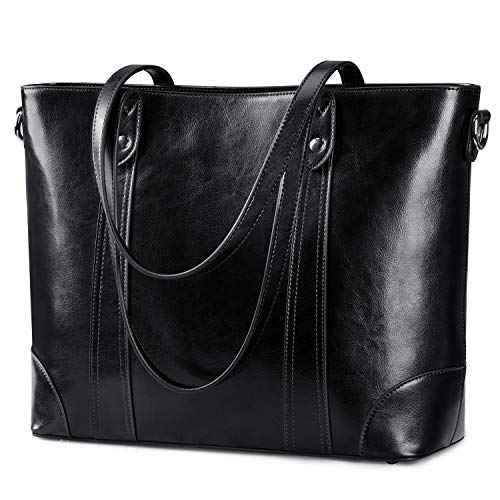 S-ZONE 15.6 Inch Leather Laptop Bag for Women Shoulder Handbag Large Work Tote (Black Leather Bag)
