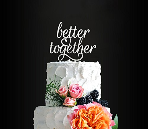 Glitter Silver Better Together Romantic Wedding Cake Topper, Elegant Cake Topper For Wedding Anniversary, Wedding Party Decorative Cake Toppers, Birthday Cake Topper Acrylic Cake - Shower Cake Wedding