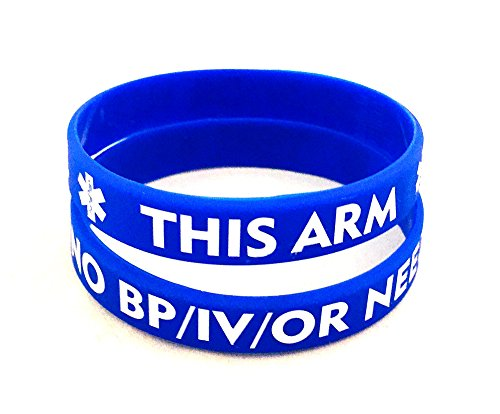 NO/BP/IV Needles This Arm - Adult Silicone Bracelet (Lot of 2) Royal
