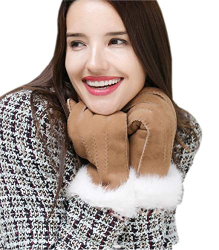 - YISEVEN Women's Merino Sheepskin Shearling Leather Gloves Mittens Sherpa Fluffy Fur Cuff Thick Wool Lined and Heated Warm for Winter Cold Weather Dress Driving Work Xmas Gifts, Black Small