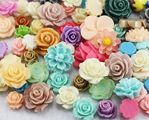 50g Mixed Assorted Flat Back Resin Flower Beads Craft DIY Hairpin Headwear/Phone/Scrapbooking