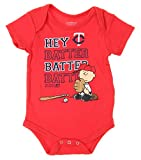 MLB Minnesota Twins Baby Boys Infants Peanuts Love Baseball Creeper, Red