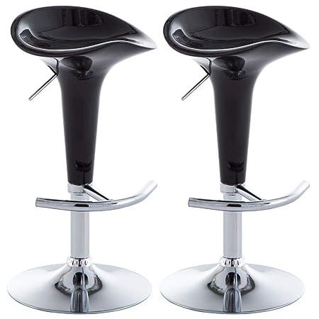 vidaXL 2X Taburetes de Bar Plástico Negro Sillas Altas Comedor Cocina Barra