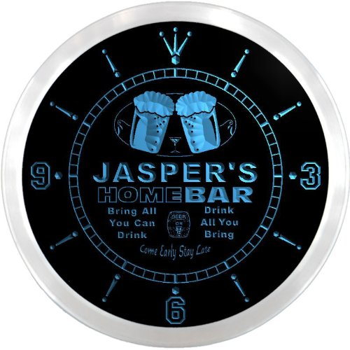 ncp0557-b JASPER'S Home Bar Beer Pub LED Neon Sign Wall