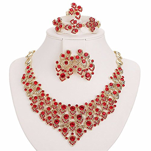 Moochi 18K Gold Plated Red Crystal Embedded Scarf Pattern Jewelry Set (Set Of Jewelry)