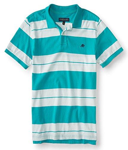 aeropostale-mens-a87-bar-stripe-jersey-polo-shirt-m-cool-turquoise