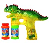 Haktoys 1900D Dinosaur Bubble Gun Shooter Blower Machine with LED Lights, Batteries, and Extra Bottle Refill