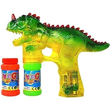 Haktoys 1900D Dinosaur Bubble Gun Shooter Blower Machine with LED Lights, Batteries, and Extra Bottle Refill