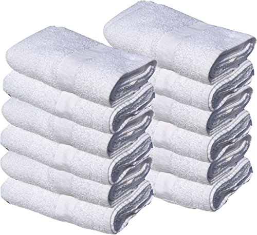 GOLD TEXTILES 24 New White 22X44 100% Cotton Economy Bath Towels (24) by GOLD TEXTILES