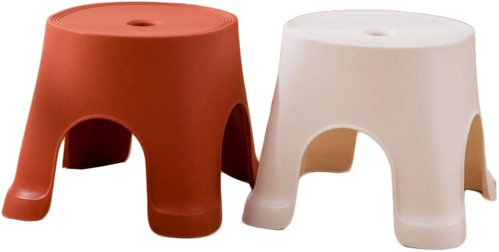 HiiGlife Taburete apilable Juego de 2 Piezas Banco Banco Plástico Hogar Taburete Infantil Espesar Taburete bajo (Color : Red+White)