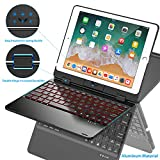 Keyboard Case Compatible with iPad 2018 (6th Gen)/2017 (5th Gen)/Pro 9.7/Air 2 & 1 | Double-Rotating Hinge & Aluminum Keyboard/Case | Colorful Backlit Keys & Long Working Time (Black)