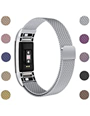 ametonuk Replacement Strap Bands Compatible for Fitbit Charge 2 Straps, Stainless Steel Magnetin Lock Metal Wristband Women Men