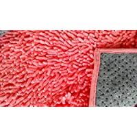 Tache 2 Feet 6 Inches by 8 Feet (2 6 x 8) Cotton Solid Coral Pink Shag Chenille All Area Runners Carpet Rug Mat