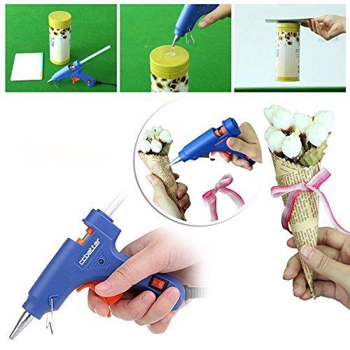 CCbetter Mini Hot Melt Glue Gun with 25pcs Glue Sticks High Temperature Melting Glue Gun Kit Flexible Trigger for DIY Small Craft Projects&Sealing and Quick Repairs(20-watt, Blue)