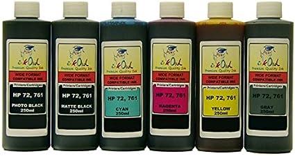inkowl – 6 x 250ml Bulk Compatible Cartuchos de tinta para HP # 72 ...