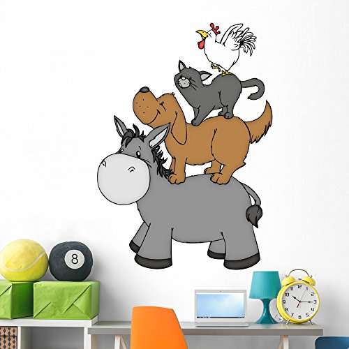 Wallmonkeys Bremer Stadtmusikanten Hahn Katze Wall Decal Peel and Stick Graphic (60 in H x 43 in W) WM351194