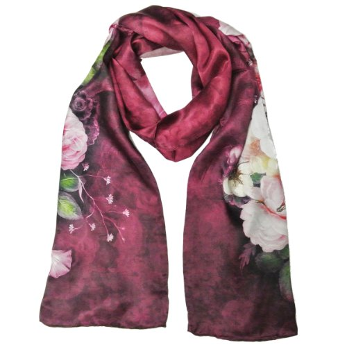 Wrapables Luxurious 100% Charmeuse Silk Floral Painting Long Scarf with Hand Rolled Edges, Peoni ...
