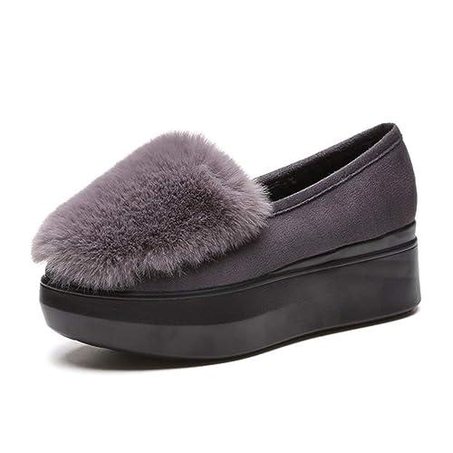 Mocasines De Plataforma Plana para Mujeres Creepers Fleece Slip On Flats Zapatos De Piel para Mocasines Femeninos Calzado para Mujer: Amazon.es: Zapatos y ...