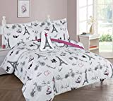 Goldenlinens Golden Linens Full Size 8 Pieces Printed Comforter with sheet set Bed in Bag Multi colors White Black Pink Paris Eiffel Tower Design Girls/Kids/Teens # Full 8 Pc Paris