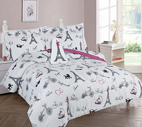 Goldenlinens Golden Linens Full Size 8 Pieces Printed Comforter with sheet set Bed in Bag Multi colors White Black Pink Paris Eiffel Tower Design Girls/Kids/Teens # Full 8 Pc Paris