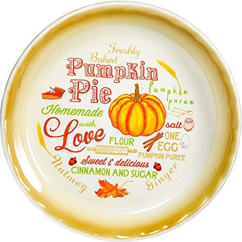 """10"""" Pumpkin Pie Vintage Pie Plate Country Style Baking Dish Decorative Colorful"""