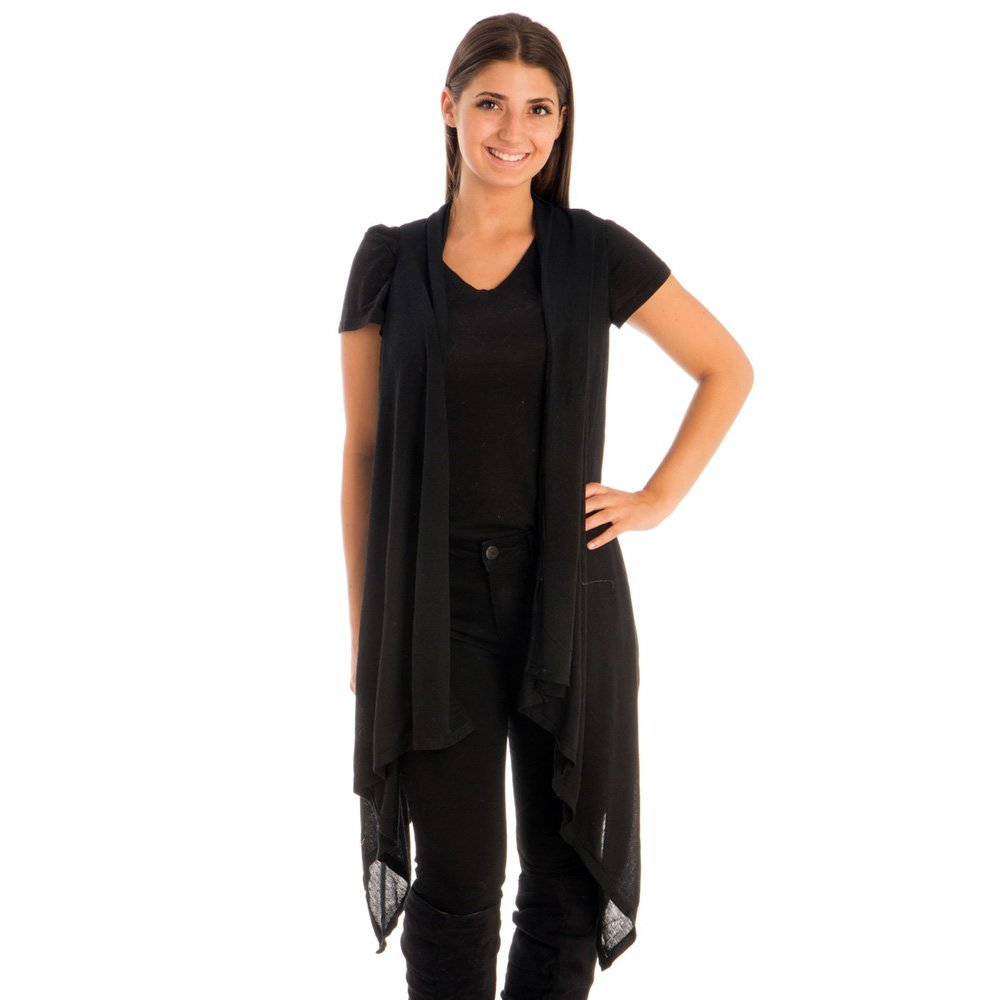 BYOS Womens Fashion Open Front Long Jersey Vest in Solid Color Cover-Ups for Beach (Black)