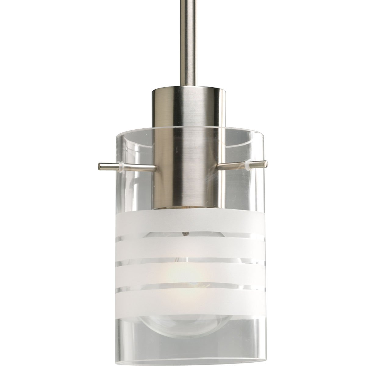 Progress Lighting P5158-09 1-Light Stem Hung Mini-Pendant with Clear and Etched Glass, Brushed Nickel
