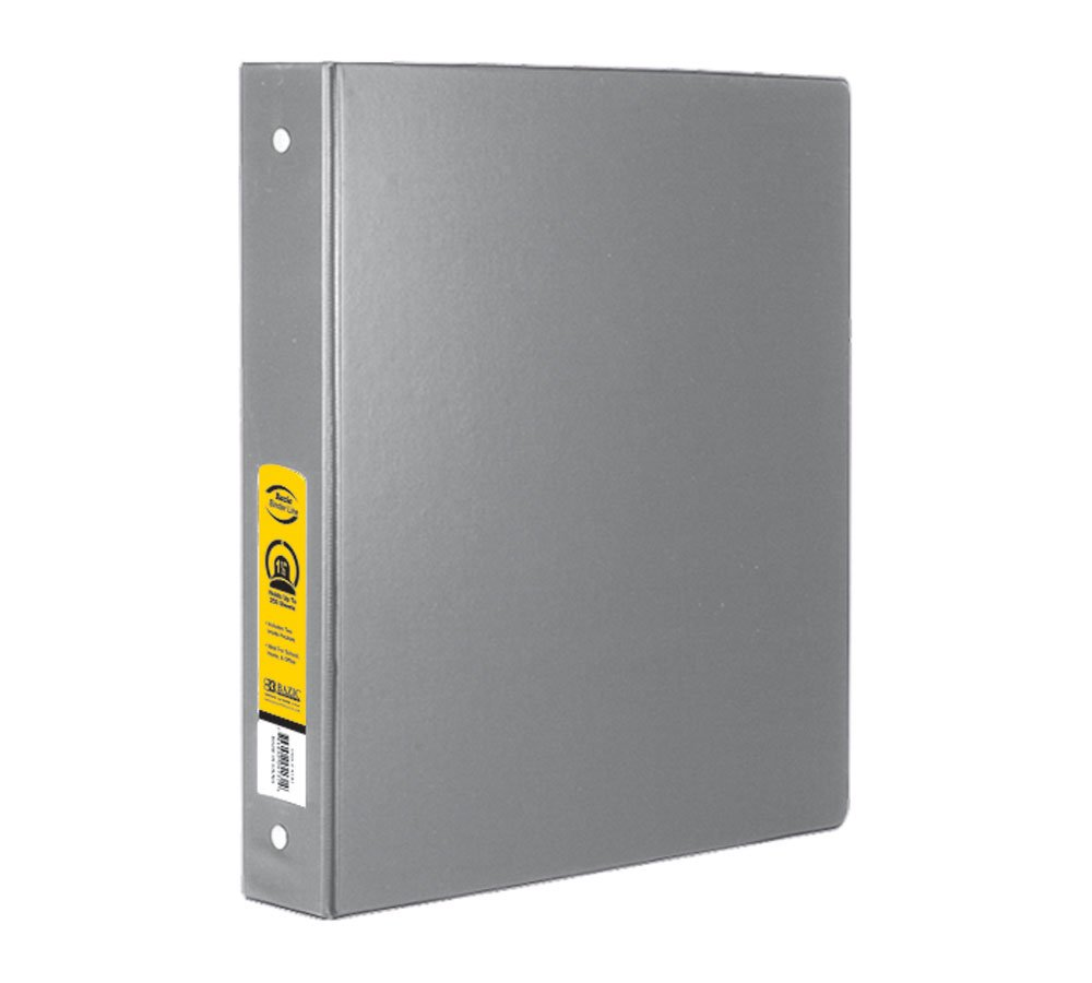 BAZIC 1'' Grey 3-Ring Binder w/ 2-Pockets