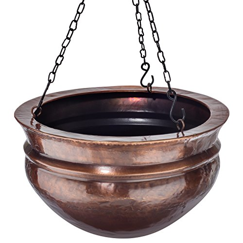 "ss Planter with Antique Finish & Chain – Outdoor Small Plant Pot for Home Patio Deck Terrace Balcony Kitchen - 14"" Diameter ()"