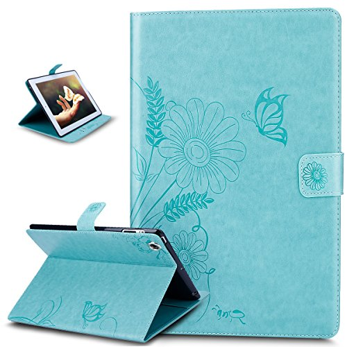 iPad 4 Case,iPad 2 3 4 Case,ikasus Embossing Butterfly Flower Flip PU Leather Flip Wallet Pouch Case with Stand Credit Card ID Holder Case for Apple iPad 4 (mit Retina Display),iPad 3 und iPad 2,Green
