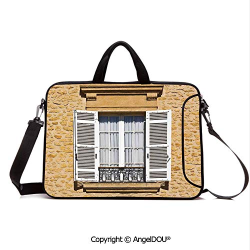 (AngelDOU Laptop Shoulder Bag Waterproof Neoprene Computer Case Image of Traditional French Window Shutters Bohemian European Style Decorative P with Handle Adjustable Shoulder Strap and External Sid)