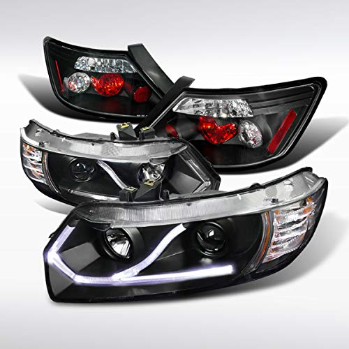 Autozensation For Honda Civic 2Dr Coupe Black LED Strip Projector Headlights Tail Lamp Civic Projector Headlights Black Housing