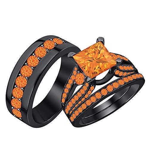 RUDRAFASHION Beautiful Wedding Halo Trio Ring Band Set Princess Cut 3.75 cttw Orange Sapphire 14k Black Gold Plated .925 Sterling Silver for Men & Women's -