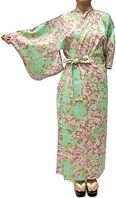 Kimono Japan Women's Easy Yukata Robe Sakura Emerald