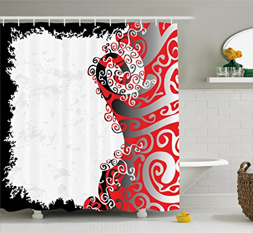 Trippy Shower Curtain by Ambesonne, Abstract Shapes with Native Ethnic Effects in Colors Artistic Display, Fabric Bathroom Decor Set with Hooks, 70 Inches, Black White Orange Silver