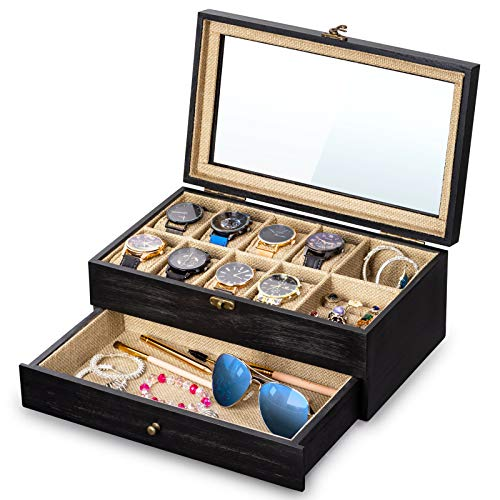 SRIWATANA Watch Box Display Case, 8 Slot Watch Organizer Wood Box with Jewelry Drawer & Glass Lid, Weathered Black